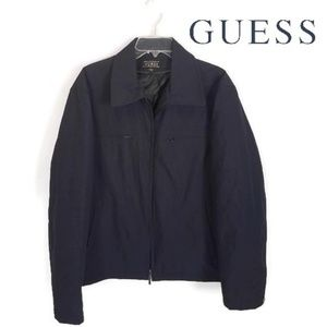 GUESS Men's Blue Zip Up Coat